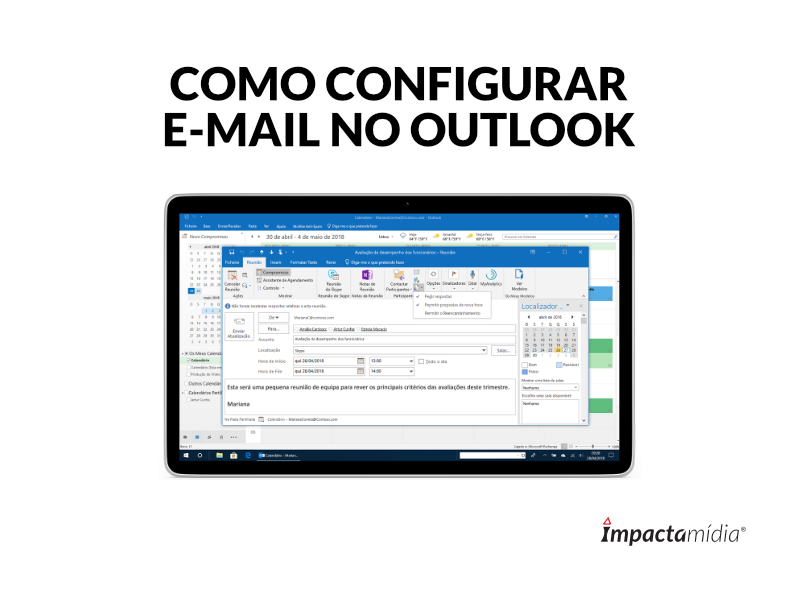 Como configurar e-mail no Outlook